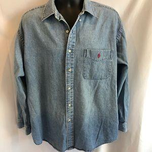 Ralph Lauren vintage BIG shirt denim large A27